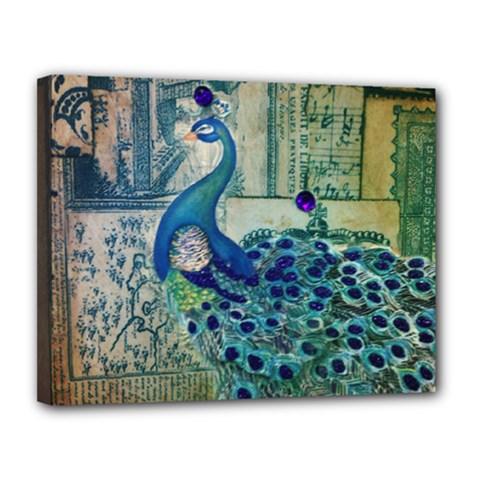 French Scripts Vintage Peacock Floral Paris Decor Canvas 14  X 11  (framed)