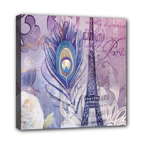 Peacock Feather White Rose Paris Eiffel Tower Mini Canvas 8  X 8  (framed) by chicelegantboutique