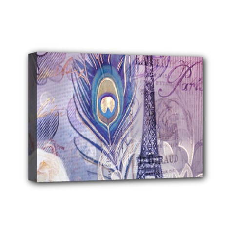 Peacock Feather White Rose Paris Eiffel Tower Mini Canvas 7  X 5  (framed) by chicelegantboutique