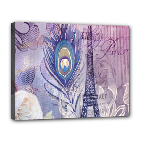 Peacock Feather White Rose Paris Eiffel Tower Canvas 14  X 11  (framed) by chicelegantboutique