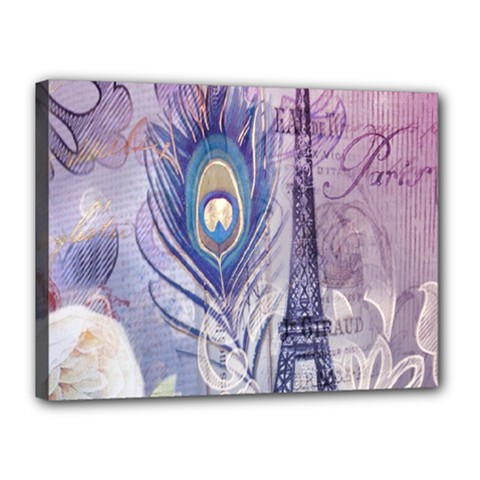 Peacock Feather White Rose Paris Eiffel Tower Canvas 16  X 12  (framed) by chicelegantboutique