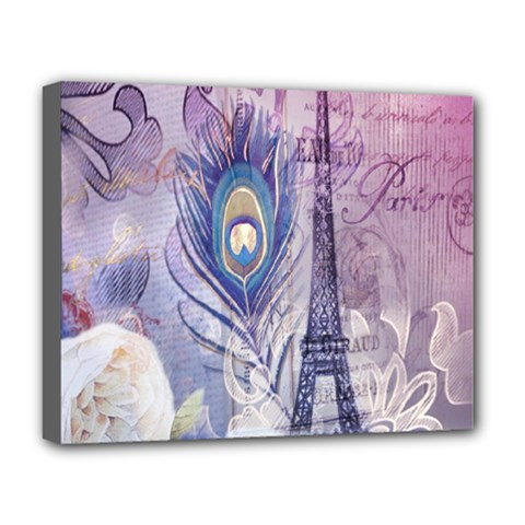 Peacock Feather White Rose Paris Eiffel Tower Deluxe Canvas 20  X 16  (framed) by chicelegantboutique