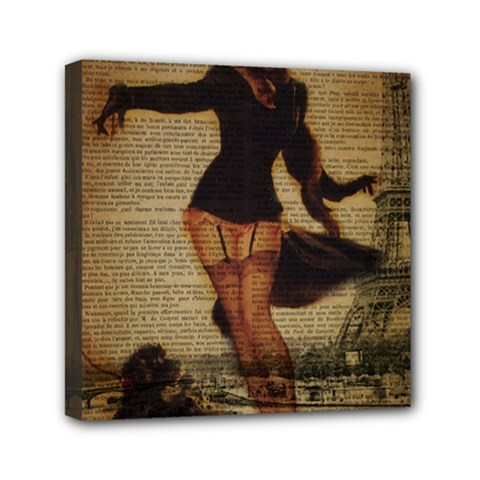 Paris Lady And French Poodle Vintage Newspaper Print Sexy Hot Gil Elvgren Pin Up Girl Paris Eiffel T Mini Canvas 6  X 6  (framed) by chicelegantboutique