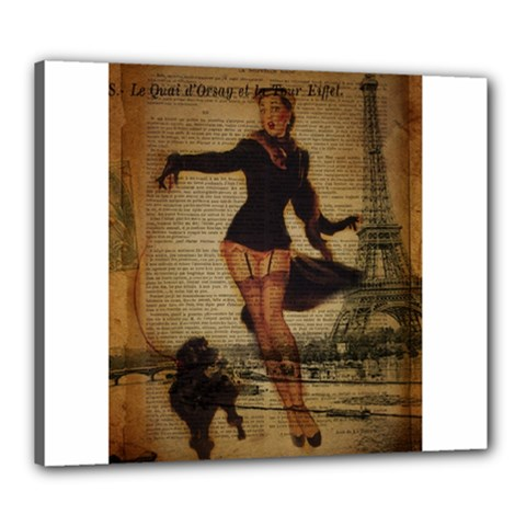 Paris Lady And French Poodle Vintage Newspaper Print Sexy Hot Gil Elvgren Pin Up Girl Paris Eiffel T Canvas 24  X 20  (framed) by chicelegantboutique