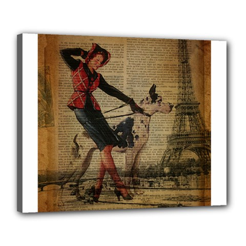 Paris Girl And Great Dane Vintage Newspaper Print Sexy Hot Gil Elvgren Pin Up Girl Paris Eiffel Towe Canvas 20  X 16  (framed)