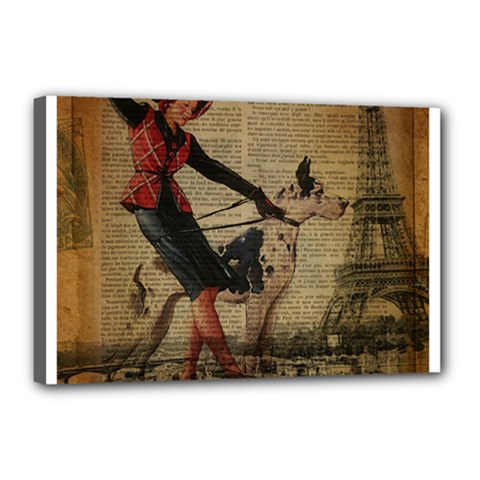 Paris Girl And Great Dane Vintage Newspaper Print Sexy Hot Gil Elvgren Pin Up Girl Paris Eiffel Towe Canvas 18  X 12  (framed) by chicelegantboutique