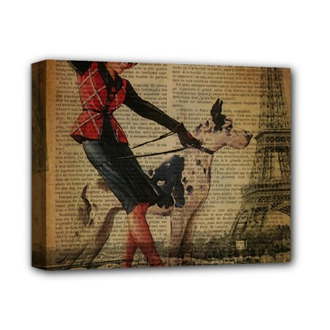 Paris Girl And Great Dane Vintage Newspaper Print Sexy Hot Gil Elvgren Pin Up Girl Paris Eiffel Towe Deluxe Canvas 14  X 11  (framed) by chicelegantboutique