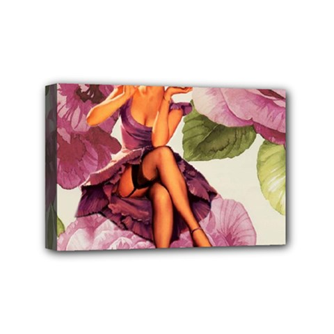 Cute Purple Dress Pin Up Girl Pink Rose Floral Art Mini Canvas 6  X 4  (framed) by chicelegantboutique