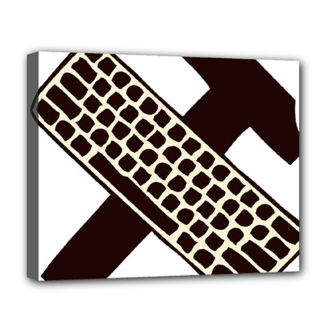 Hammer And Keyboard  Deluxe Canvas 20  X 16  (framed) by youshidesign