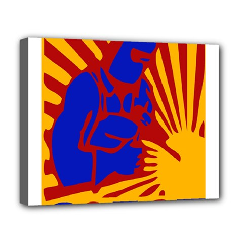 Soviet Robot Worker  Deluxe Canvas 20  X 16  (framed) by youshidesign