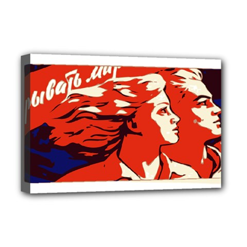 Communist Propaganda He And She  Deluxe Canvas 18  X 12  (framed) by youshidesign