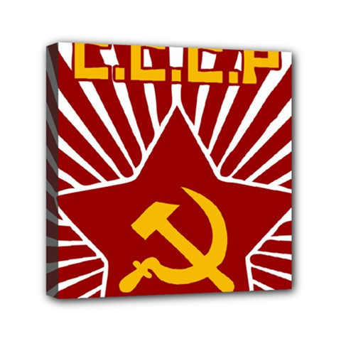 Hammer And Sickle Cccp Mini Canvas 6  X 6  (stretched) by youshidesign
