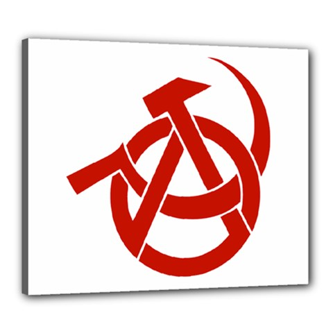 Hammer Sickle Anarchy Canvas 24  X 20  (framed) by youshidesign