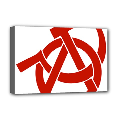 Hammer Sickle Anarchy Deluxe Canvas 18  X 12  (framed) by youshidesign