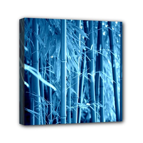 Blue Bamboo Mini Canvas 6  X 6  (framed) by Siebenhuehner