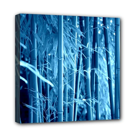 Blue Bamboo Mini Canvas 8  X 8  (framed) by Siebenhuehner