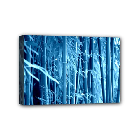 Blue Bamboo Mini Canvas 6  X 4  (framed) by Siebenhuehner