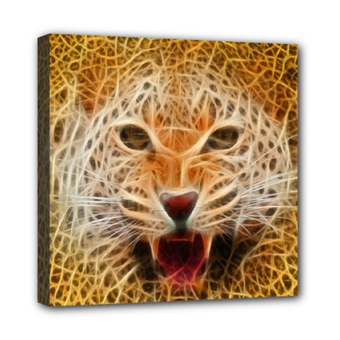 Electrified Fractal Jaguar Mini Canvas 8  X 8  (stretched) by TheWowFactor
