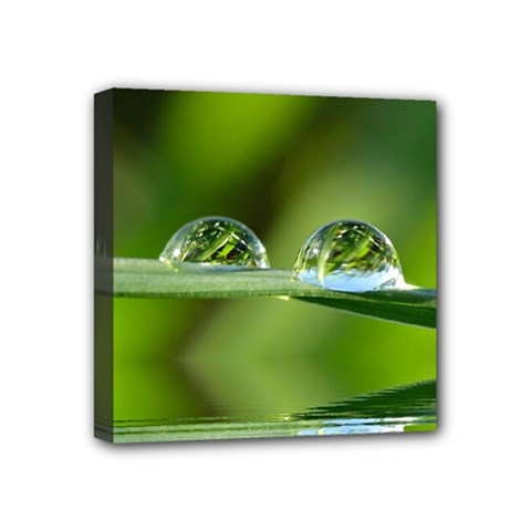 Waterdrops Mini Canvas 4  X 4  (framed) by Siebenhuehner