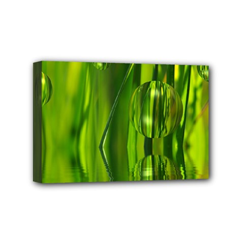 Green Bubbles  Mini Canvas 6  X 4  (framed) by Siebenhuehner