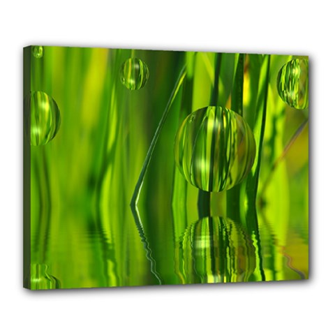 Green Bubbles  Canvas 20  X 16  (framed) by Siebenhuehner