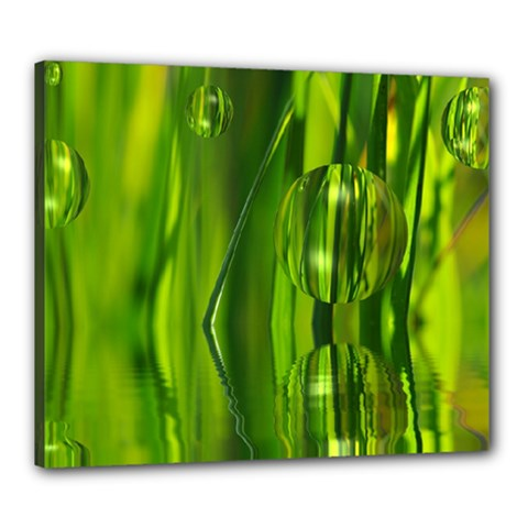 Green Bubbles  Canvas 24  X 20  (framed) by Siebenhuehner