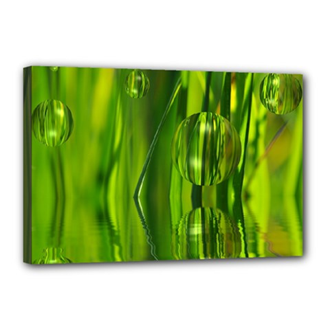 Green Bubbles  Canvas 18  X 12  (framed) by Siebenhuehner