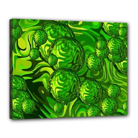 Green Balls  Canvas 20  X 16  (framed) by Siebenhuehner