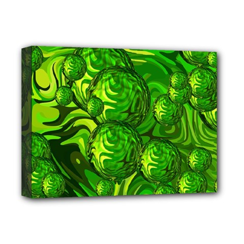 Green Balls  Deluxe Canvas 16  X 12  (framed)  by Siebenhuehner