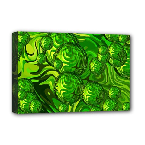 Green Balls  Deluxe Canvas 18  X 12  (framed) by Siebenhuehner