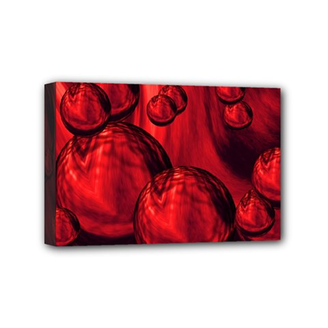 Red Bubbles Mini Canvas 6  X 4  (framed) by Siebenhuehner