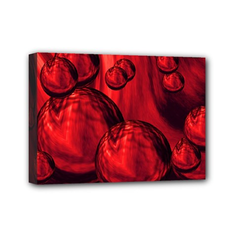 Red Bubbles Mini Canvas 7  X 5  (framed) by Siebenhuehner
