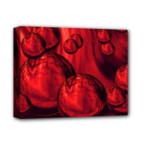 Red Bubbles Deluxe Canvas 14  X 11  (framed) by Siebenhuehner
