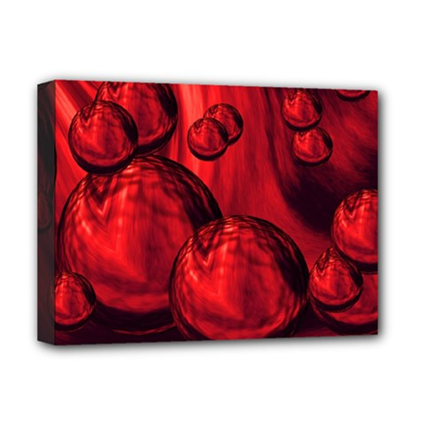 Red Bubbles Deluxe Canvas 16  X 12  (framed)  by Siebenhuehner