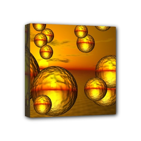 Sunset Bubbles Mini Canvas 4  X 4  (framed) by Siebenhuehner
