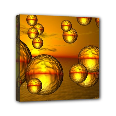 Sunset Bubbles Mini Canvas 6  X 6  (framed) by Siebenhuehner