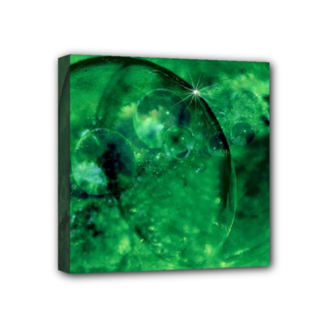Green Bubbles Mini Canvas 4  X 4  (framed) by Siebenhuehner