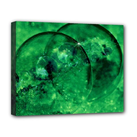 Green Bubbles Deluxe Canvas 20  X 16  (framed)