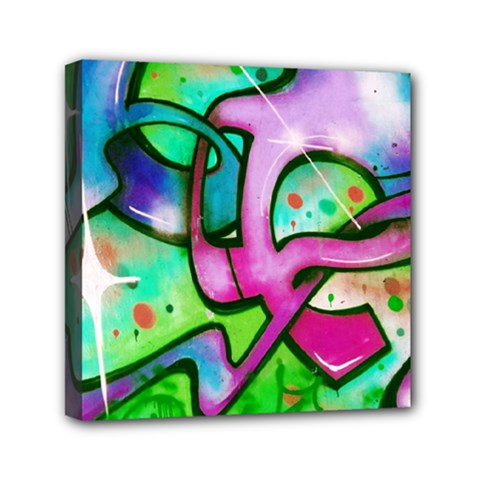 Graffity Mini Canvas 6  X 6  (framed) by Siebenhuehner