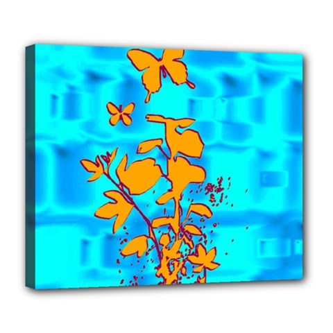 Butterfly Blue Deluxe Canvas 24  X 20  (framed) by uniquedesignsbycassie