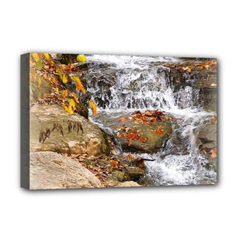 Waterfall Deluxe Canvas 18  X 12  (framed) by uniquedesignsbycassie