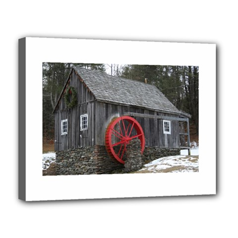Vermont Christmas Barn Canvas 14  X 11  (framed) by plainandsimple