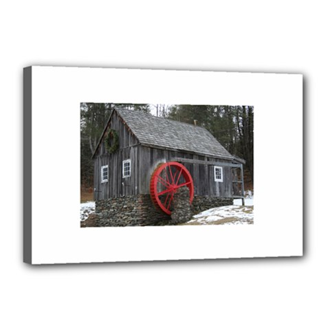 Vermont Christmas Barn Canvas 18  X 12  (framed) by plainandsimple