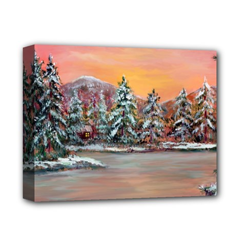 jane s Winter Sunset   By Ave Hurley Of Artrevu   Deluxe Canvas 14  X 11  (stretched) by ArtRave2