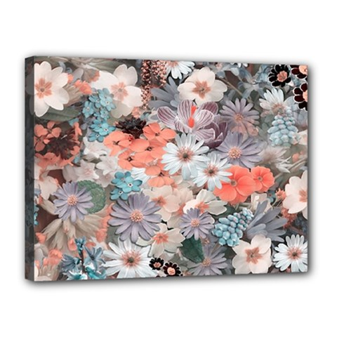 Spring Flowers Canvas 16  X 12  (framed)