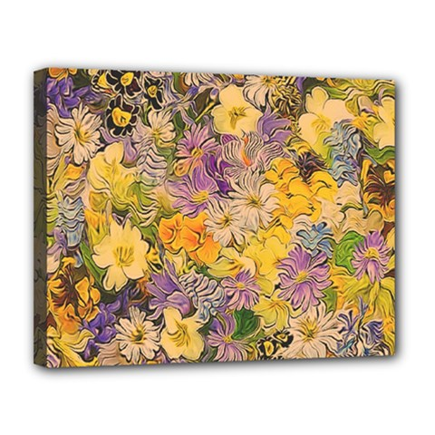 Spring Flowers Effect Canvas 14  x 11  (Framed)