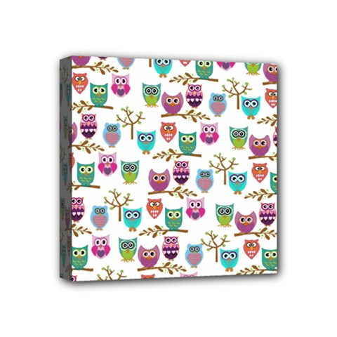 Happy Owls Mini Canvas 4  X 4  (framed) by Ancello