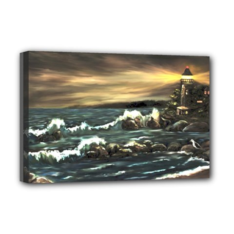 bridget s Lighthouse   By Ave Hurley Of Artrevu   Deluxe Canvas 18  X 12  (stretched) by ArtRave2