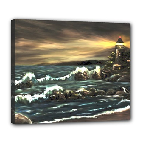 bridget s Lighthouse   By Ave Hurley Of Artrevu   Deluxe Canvas 24  X 20  (stretched) by ArtRave2