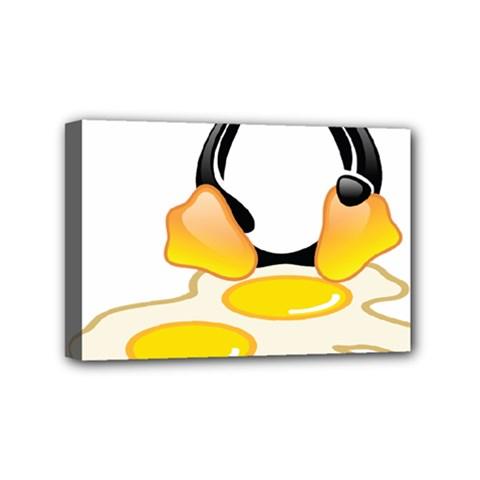 Linux Tux Penguin Birth Mini Canvas 6  X 4  (framed)